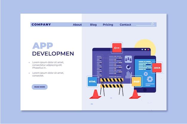 Modelo de desenvolvimento de aplicativo de página de destino