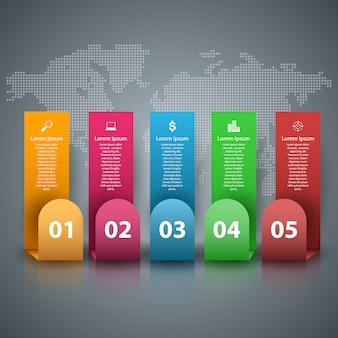 Modelo de design 3d infográfico e elementos de marketing