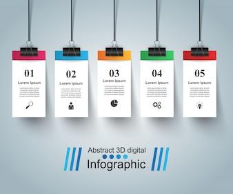 Modelo de design 3D infográfico e pin