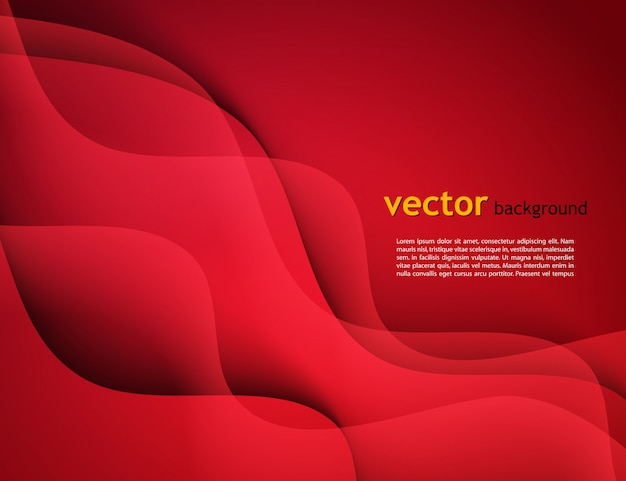 Modelo de design abstrato com fundos coloridos ondas vermelhas