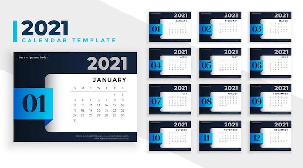 Modelo de design abstrato de calendário de negócios 2021 nas cores preto e azul