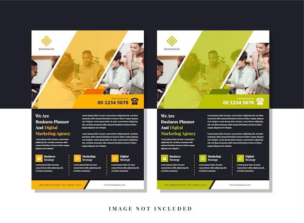 Modelo de design abstrato de panfleto para planejador de negócios e agência de marketing com espaço diagonal para foto.