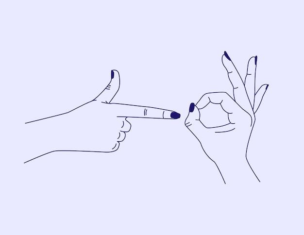 Modelo de design abstrato de vetor em mãos de estilo linear simples, mostrando minimalismo de símbolo sexual