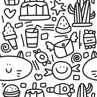 Modelo de design abstrato dos desenhos animados doodle padrão