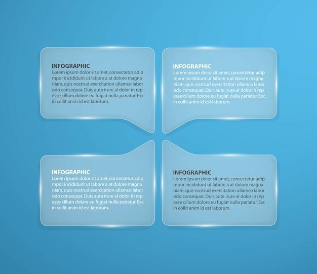 Modelo de design abstrato infográfico de vidro em forma quadrada.
