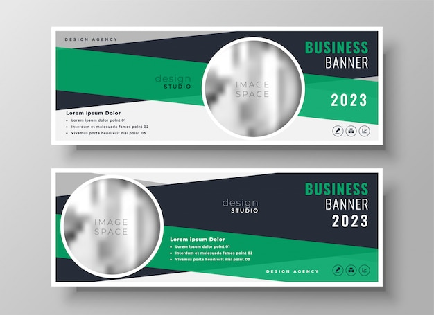 Modelo de design abstrato verde negócios bandeira