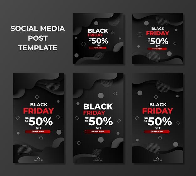 Modelo de design black friday para postagem e histórias em mídias sociais Vetor Premium