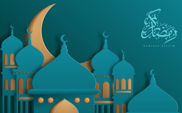 Modelo de design bonito islâmico. mesquita com lua amarela e estrelas no fundo turquesa no estilo de corte de papel. cartão de ramadã kareem, banner, capa ou cartaz