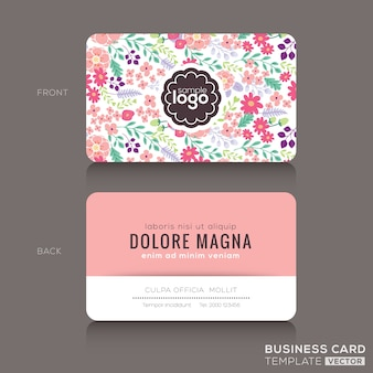 Modelo de design bonito padrão floral cartão de visita cartão de nome