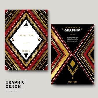 Modelo de design clássico de brochura com padrões étnicos