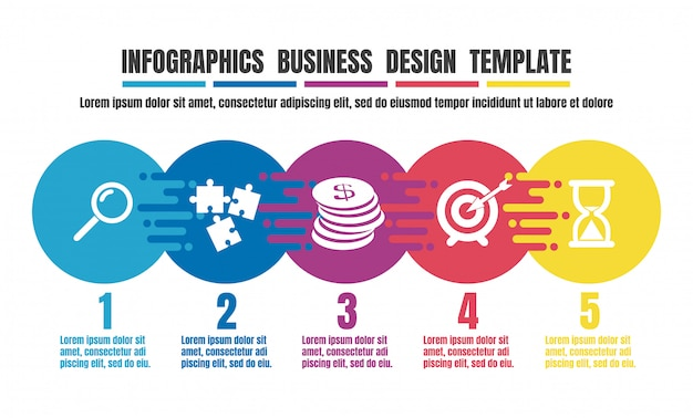 Modelo de design colorido de cronograma infográficos para negócios