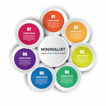 Modelo de design colorido infográfico circular.