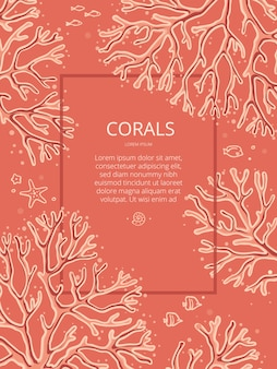 Modelo de design com corais desenhados à mão sobre um fundo coral com lugar para texto. os corais nesta ilustração são isolados.