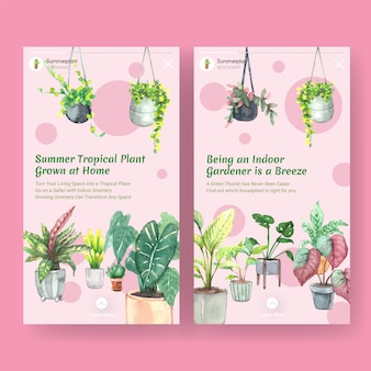 Modelo de design com plantas de verão e plantas da casa para mídias sociais, comunidade online, internet e anunciar ilustração aquarela