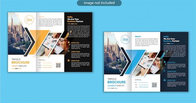 Modelo de design com três dobras para folheto de marketing de fundo