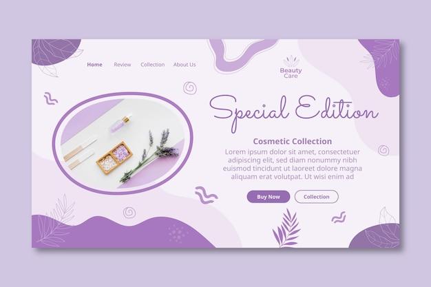 Modelo de design cosmético de página de destino de edição especial