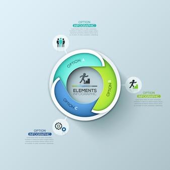 Modelo de design criativo infográfico circular com 3 elementos sobrepostos com letras