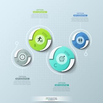 Modelo de design criativo infográfico com 4 elementos redondos, pictogramas, caixas de texto e indicação do ano.