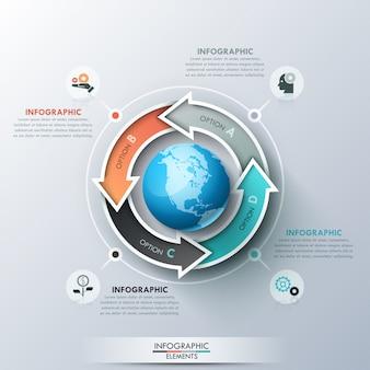 Modelo de design criativo infográfico com 4 setas multicoloridas colocadas ao redor do globo, pictogramas e caixas de texto