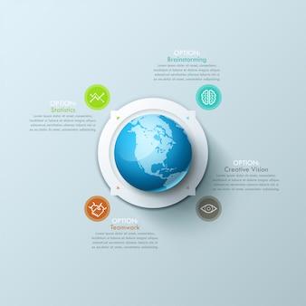 Modelo de design criativo infográfico com o planeta terra no centro, 4 setas apontando para ícones de linha fina e caixas de texto