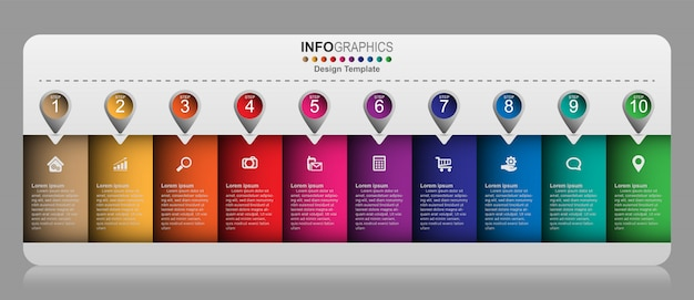 Modelo de design criativo infográfico, conceito do negócio com 10 opções, etapas ou processos.