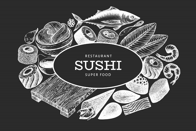 Modelo de design da culinária japonesa. sushi mão desenhada ilustração vetorial no quadro de giz. fundo de comida asiática estilo retro.
