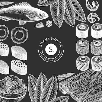 Modelo de design da culinária japonesa. sushi mão ilustrações desenhadas no quadro de giz. fundo de comida asiática estilo retro.