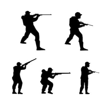 Modelo de design da ilustração do exército militar do soldado da silhueta