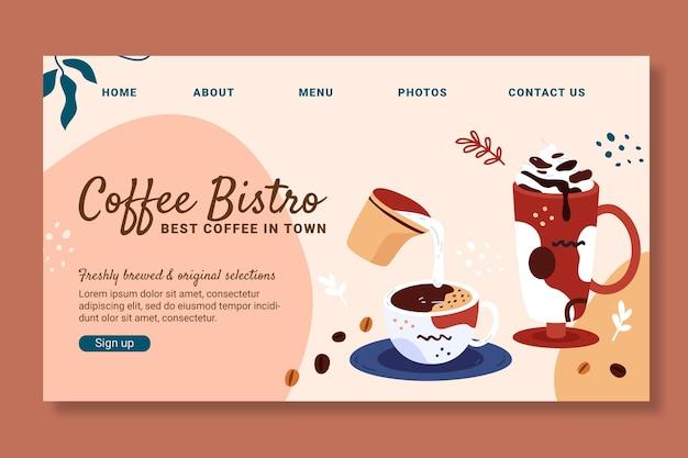 Modelo de design da página de destino do café