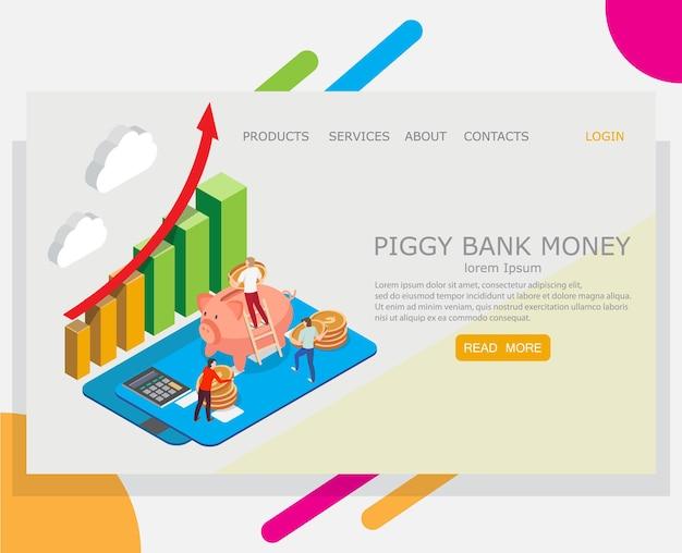 Modelo de design da página de destino do site de dinheiro do cofrinho