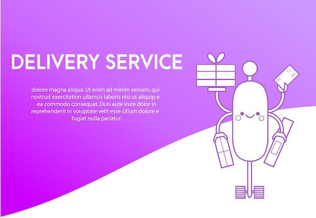 Modelo de design da página de destino para o serviço de entrega.