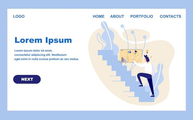 Modelo de design da página inicial para o projeto de negócios