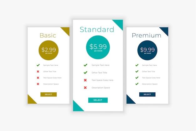 Modelo de design da tabela de preços do site