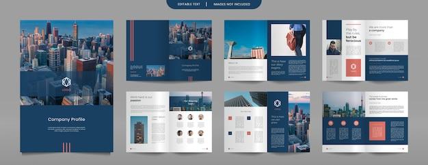 Modelo de design das páginas do folheto do perfil da empresa