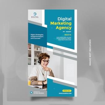 Modelo de design de agência de marketing digital para história de mídia social e banner com cor azul moderna