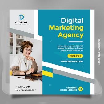 Modelo de design de agência de marketing digital para postagem em mídia social e banner azul amarelo