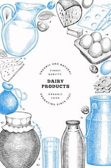 Modelo de design de alimentos de fazenda. mão-extraídas ilustração vetorial de laticínios. bandeira de ovos e produtos lácteos diferentes de estilo gravado. fundo de comida retrô.