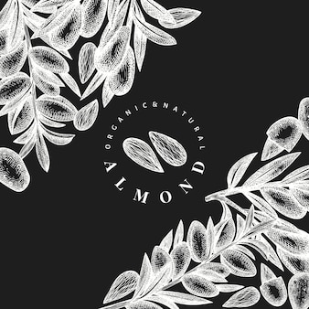 Modelo de design de amêndoa de esboço desenhado de mão. ilustração do vetor de alimentos orgânicos no quadro de giz. ilustração de noz vintage. fundo botânico de estilo gravado.