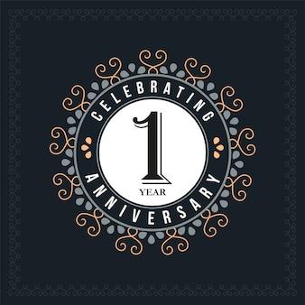 Modelo de design de aniversário de 1 ano