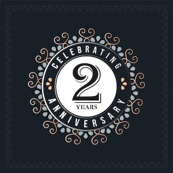 Modelo de design de aniversário de 2 anos