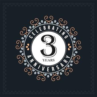 Modelo de design de aniversário de 3 anos