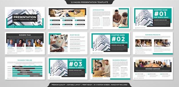 Modelo de design de apresentação com estilo minimalista e conceito moderno