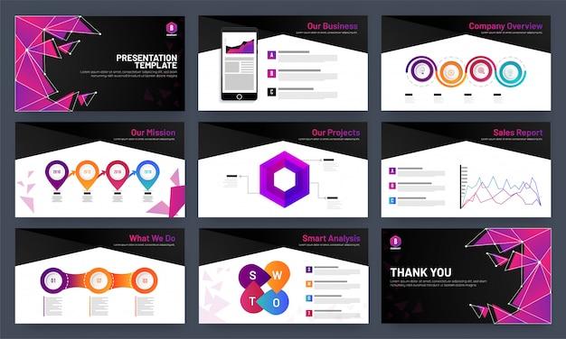 Modelo de design de apresentação com infocharts e dados analíticos