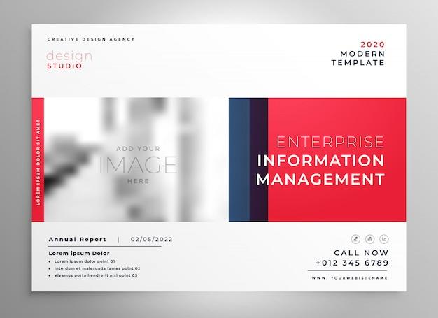 Modelo de design de apresentação de brochura na cor vermelha