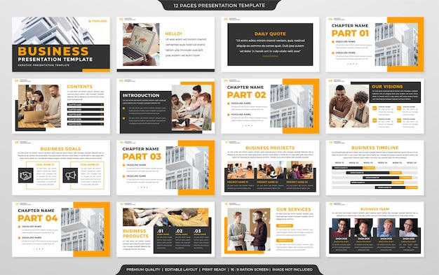 Modelo de design de apresentação de negócios com estilo limpo e conceito simples