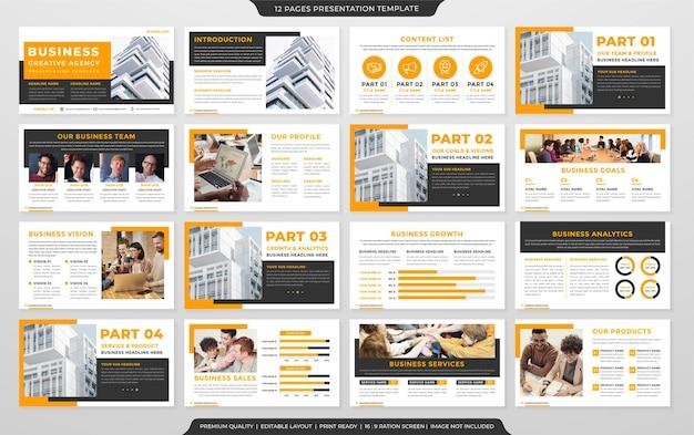 Modelo de design de apresentação de negócios com estilo limpo e layout moderno