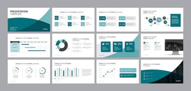 Modelo de design de apresentação de negócios e design de layout de página