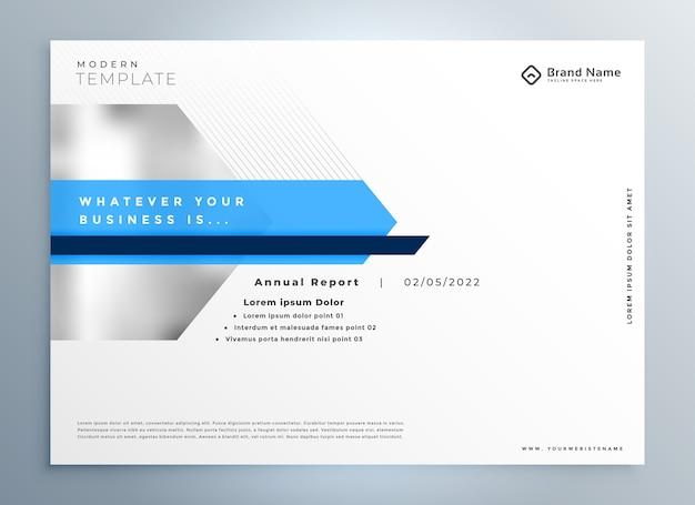 Modelo de design de apresentação de negócios moderno e elegante em azul
