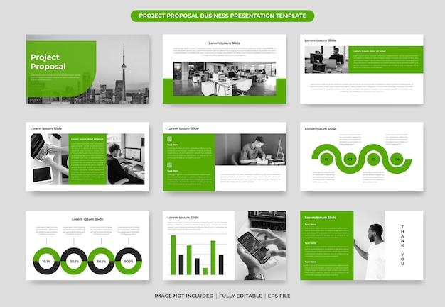 Modelo de design de apresentação de proposta de projeto, relatório anual de elementos e folheto da empresa