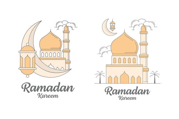 Modelo de design de arte em linha ramadan kareem